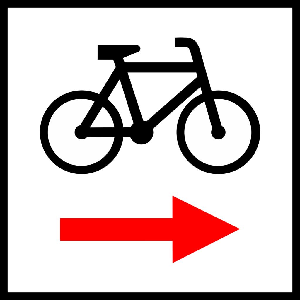 Znaki szlaku rowerowego - Znak drogowy R-1b - skręt w prawo