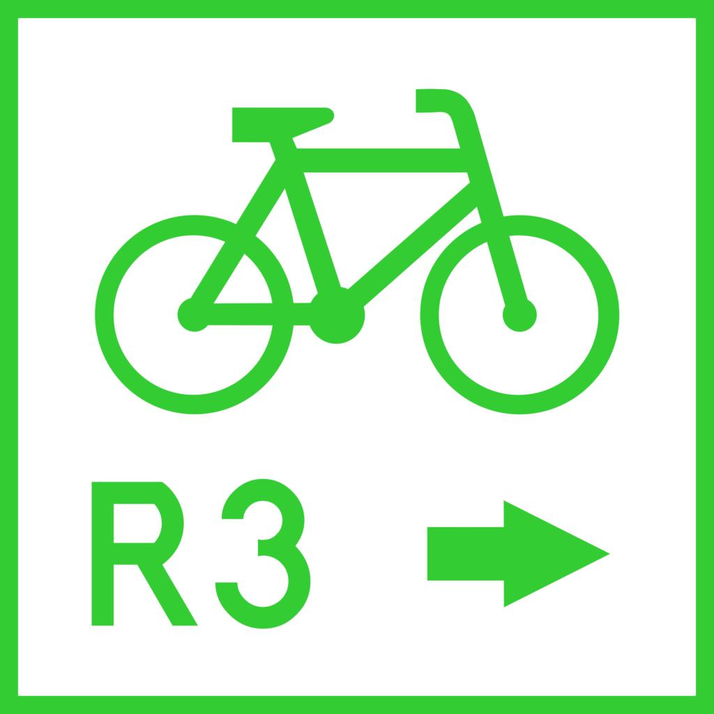 Znak drogowy R-2a - zmiana kierunku szlaku rowerowego międzynarodowego (nieaktualny)