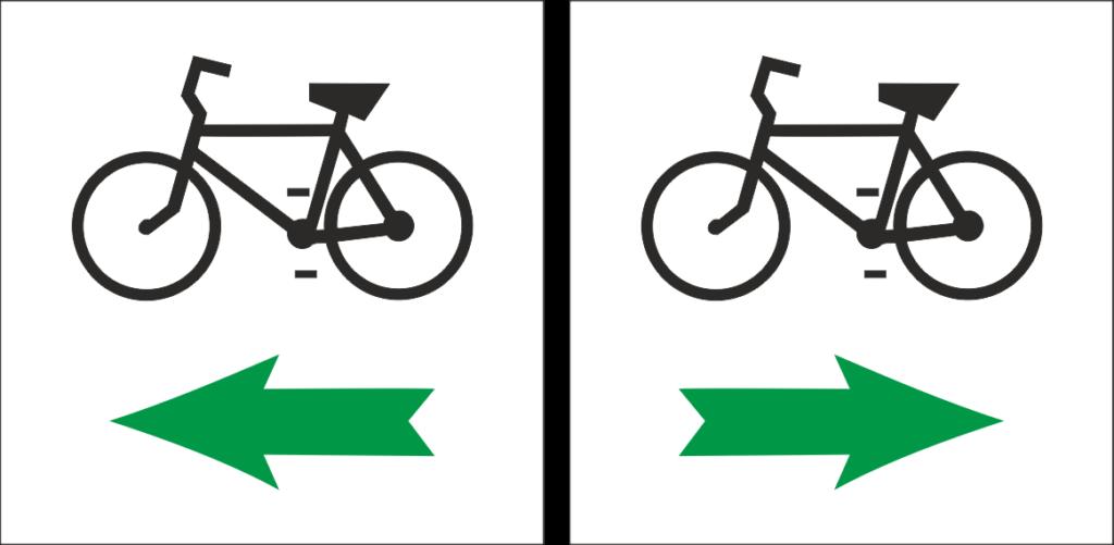 Oznakowanie zakrętu na szlaku rowerowym